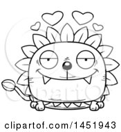 Clipart Graphic Of A Cartoon Black And White Lineart Loving Dandelion Character Mascot Royalty Free Vector Illustration