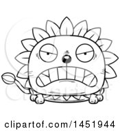 Clipart Graphic Of A Cartoon Black And White Lineart Mad Dandelion Character Mascot Royalty Free Vector Illustration