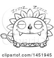 Clipart Graphic Of A Cartoon Black And White Lineart Sleeping Dandelion Character Mascot Royalty Free Vector Illustration