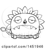 Clipart Graphic Of A Cartoon Black And White Lineart Sad Dandelion Character Mascot Royalty Free Vector Illustration