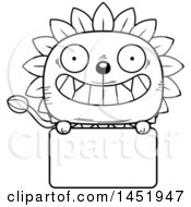 Clipart Graphic Of A Cartoon Black And White Lineart Dandelion Character Mascot Over A Blank Sign Royalty Free Vector Illustration