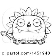 Clipart Graphic Of A Cartoon Black And White Lineart Sly Dandelion Character Mascot Royalty Free Vector Illustration