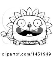 Clipart Graphic Of A Cartoon Black And White Lineart Smiling Dandelion Character Mascot Royalty Free Vector Illustration