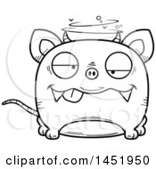 Clipart Graphic Of A Cartoon Black And White Lineart Drunk Chupacabra Character Mascot Royalty Free Vector Illustration by Cory Thoman