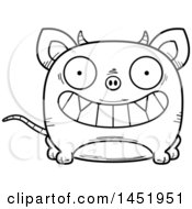 Clipart Graphic Of A Cartoon Black And White Lineart Grinning Chupacabra Character Mascot Royalty Free Vector Illustration by Cory Thoman