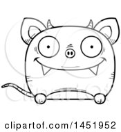 Clipart Graphic Of A Cartoon Black And White Lineart Happy Chupacabra Character Mascot Royalty Free Vector Illustration by Cory Thoman