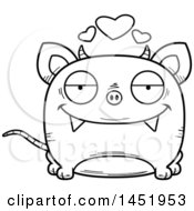 Cartoon Black And White Lineart Loving Chupacabra Character Mascot