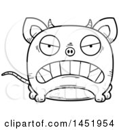 Clipart Graphic Of A Cartoon Black And White Lineart Mad Chupacabra Character Mascot Royalty Free Vector Illustration by Cory Thoman