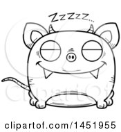 Clipart Graphic Of A Cartoon Black And White Lineart Sleeping Chupacabra Character Mascot Royalty Free Vector Illustration