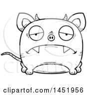Clipart Graphic Of A Cartoon Black And White Lineart Sad Chupacabra Character Mascot Royalty Free Vector Illustration by Cory Thoman