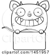 Cartoon Black And White Lineart Chupacabra Character Mascot Over A Blank Sign