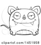 Clipart Graphic Of A Cartoon Black And White Lineart Sly Chupacabra Character Mascot Royalty Free Vector Illustration by Cory Thoman