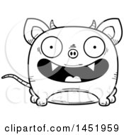 Clipart Graphic Of A Cartoon Black And White Lineart Smiling Chupacabra Character Mascot Royalty Free Vector Illustration by Cory Thoman