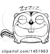 Clipart Graphic Of A Cartoon Black And White Lineart Sleeping Chipmunk Character Mascot Royalty Free Vector Illustration