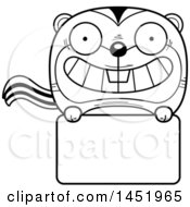 Cartoon Black And White Lineart Chipmunk Character Mascot Over A Blank Sign