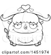 Cartoon Black And White Lineart Loving Ox Character Mascot
