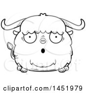 Clipart Graphic Of A Cartoon Black And White Lineart Surprised Ox Character Mascot Royalty Free Vector Illustration
