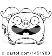 Cartoon Black And White Lineart Smiling Ox Character Mascot