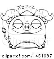 Cartoon Black And White Lineart Sleeping Ox Character Mascot