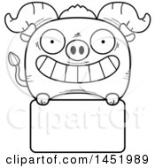 Cartoon Black And White Lineart Ox Character Mascot Over A Blank Sign