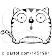 Clipart Graphic Of A Cartoon Black And White Lineart Surprised Tabby Cat Character Mascot Royalty Free Vector Illustration