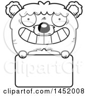 Cartoon Black And White Lineart Bear Character Mascot Over A Blank Sign