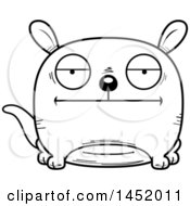 Cartoon Black And White Lineart Bored Kangaroo Character Mascot