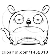 Cartoon Black And White Lineart Sad Kangaroo Character Mascot
