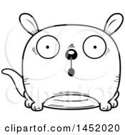 Clipart Graphic Of A Cartoon Black And White Lineart Surprised Kangaroo Character Mascot Royalty Free Vector Illustration