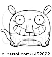 Cartoon Black And White Lineart Grinning Aardvark Character Mascot
