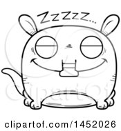 Clipart Graphic Of A Cartoon Black And White Lineart Sleeping Aardvark Character Mascot Royalty Free Vector Illustration