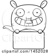 Cartoon Black And White Lineart Aardvark Character Mascot Over A Blank Sign