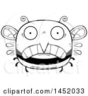 Poster, Art Print Of Cartoon Black And White Lineart Scared Bee Character Mascot