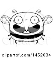Cartoon Black And White Lineart Happy Bee Character Mascot