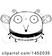 Clipart Graphic Of A Cartoon Black And White Lineart Surprised Bee Character Mascot Royalty Free Vector Illustration