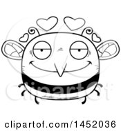 Cartoon Black And White Lineart Loving Bee Character Mascot