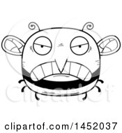 Cartoon Black And White Lineart Mad Bee Character Mascot