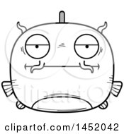 Cartoon Black And White Lineart Bored Catfish Character Mascot