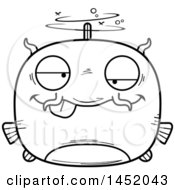 Clipart Graphic Of A Cartoon Black And White Lineart Drunk Catfish Character Mascot Royalty Free Vector Illustration