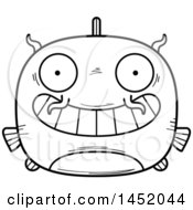 Clipart Graphic Of A Cartoon Black And White Lineart Grinning Catfish Character Mascot Royalty Free Vector Illustration