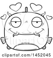 Clipart Graphic Of A Cartoon Black And White Lineart Loving Catfish Character Mascot Royalty Free Vector Illustration