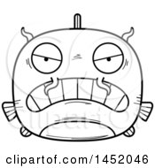 Clipart Graphic Of A Cartoon Black And White Lineart Mad Catfish Character Mascot Royalty Free Vector Illustration