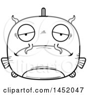 Clipart Graphic Of A Cartoon Black And White Lineart Sad Catfish Character Mascot Royalty Free Vector Illustration