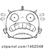 Cartoon Black And White Lineart Scared Catfish Character Mascot