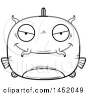 Cartoon Black And White Lineart Sly Catfish Character Mascot