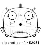 Clipart Graphic Of A Cartoon Black And White Lineart Surprised Catfish Character Mascot Royalty Free Vector Illustration