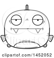 Clipart Graphic Of A Cartoon Black And White Lineart Bored Piranha Fish Character Mascot Royalty Free Vector Illustration