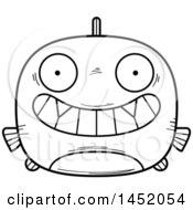 Cartoon Black And White Lineart Grinning Piranha Fish Character Mascot
