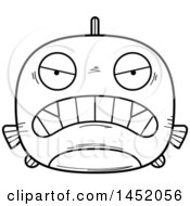 Clipart Graphic Of A Cartoon Black And White Lineart Mad Piranha Fish Character Mascot Royalty Free Vector Illustration