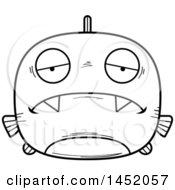 Clipart Graphic Of A Cartoon Black And White Lineart Sad Piranha Fish Character Mascot Royalty Free Vector Illustration